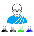 joyful buddhist monk icon vector image vector image