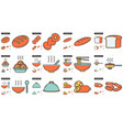 junk food line icon set vector image