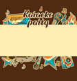 karaoke party card music event background vector image