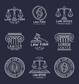 law office logos set with scales justicegavel vector image