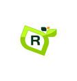 leaf initial r logo design template vector image