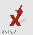Letter X Logo letters with a hand Finger pointing vector image vector image