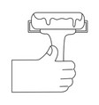 line hand with paint roller tool to decorate vector image