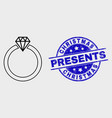 linear jewelry ring icon and scratched vector image vector image