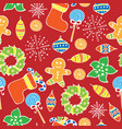 new year seamless pattern on the red background vector image vector image