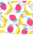 pattern with bananas and strawberries vector image vector image