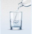 pure water pouring into realistic glass cup vector image vector image