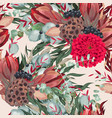 seamless pattern with dahlia and greenery vector image