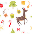 seamless pattern with reindeer christmas candies vector image