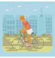 Senior man cycling vector image