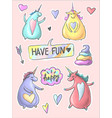 set of funny cartoon dancing magic unicorns patch vector image vector image