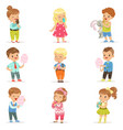 set of little boys and girls drinking cocktails vector image vector image