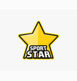 sportstar logo yellow star in black outline as vector image vector image