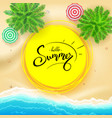 summer hand lettering on yellow sun hand drawn vector image vector image