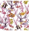 Summer Vintage Watercolor Sea Life Seamless vector image vector image