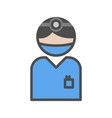surgeon icon with blue uniform at the hospital vector image