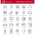 thin line multimedia and electronics icons set vector image vector image