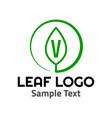v leaf logo symbol icon sign vector image vector image