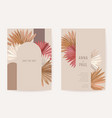 wedding invitation boho tropical palm leaves card vector image