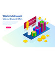 weekend sale and discount offers online shopping vector image