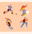 winter sports set isolated persons vector image vector image
