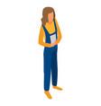 Woman technician construction icon isometric