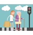 Girl helping old woman vector image