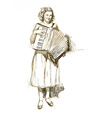 woman with accordion vector image