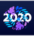 2020 number and leaves in circle shape flat vector image