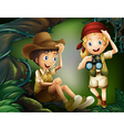 A jungle with a boy and a girl vector image vector image