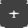 aircraft icon sign Seamless pattern on a gray vector image vector image