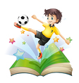 An open book with an image of a football player vector image