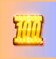 award number 100 banner gold object vector image