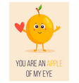 bright poster with cute cartoon apple and saying vector image vector image