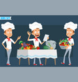 cartoon flat chef cook boy character set vector image vector image