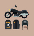 classic motorcycle with jacket and helmet with vector image