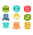 coronavirus caution badges collection covid-2019 vector image