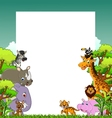 cute animal cartoon with tropical forest backgroun vector image vector image