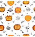 cute space seamless pattern with cartoon lions vector image vector image