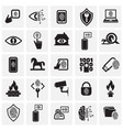 cyber security and computer set on squares vector image