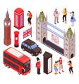 england landmarks isometric set vector image