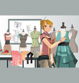 fashion designer at work vector image vector image