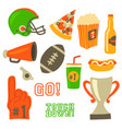 football party icons super bowl celebration vector image vector image