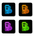 glowing neon blender with bowl and gear icon vector image vector image