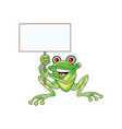 green frog sitting on ground holding board vector image