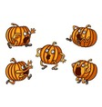 Halloween Runaway Pumpkin set vector image