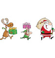 Happy Santa ClausElf and Reindeer Runs With Gifts vector image vector image