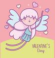 happy valentines day cute cupid hearts love card vector image vector image