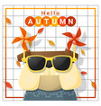 hello autumn background with happy dog vector image vector image