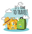 its time to travel baggage cloud background vector image vector image
